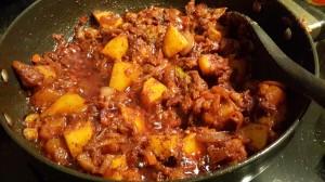 Goan chorico chilli fry in the pan