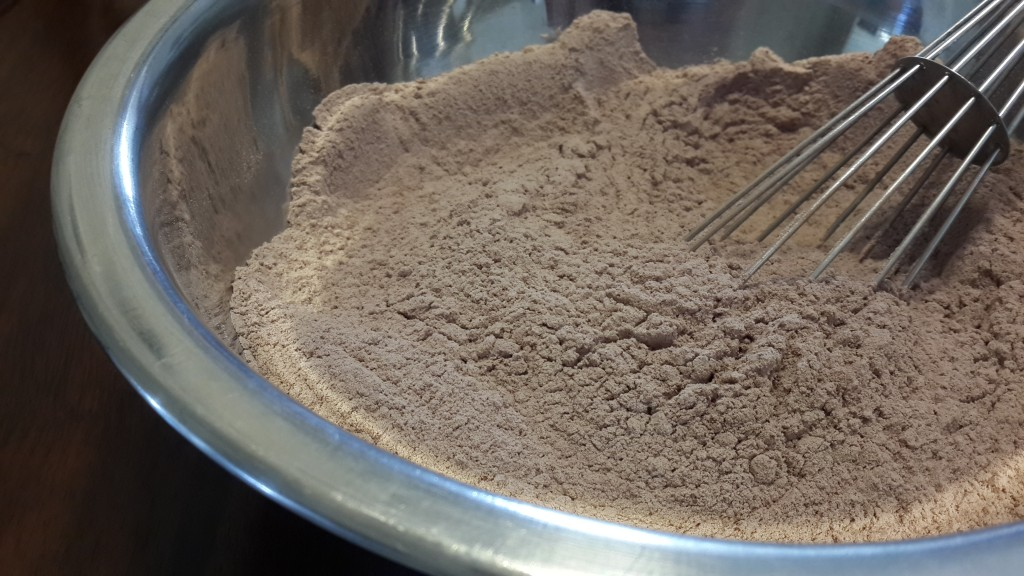 Flour, cocoa powder, and salt whisked together
