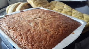 Banana pound cake fresh from the oven