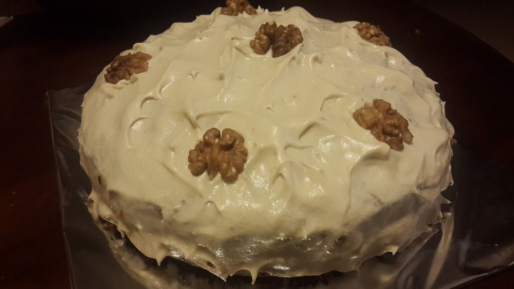 Carrot cake with plain cream cheese frosting