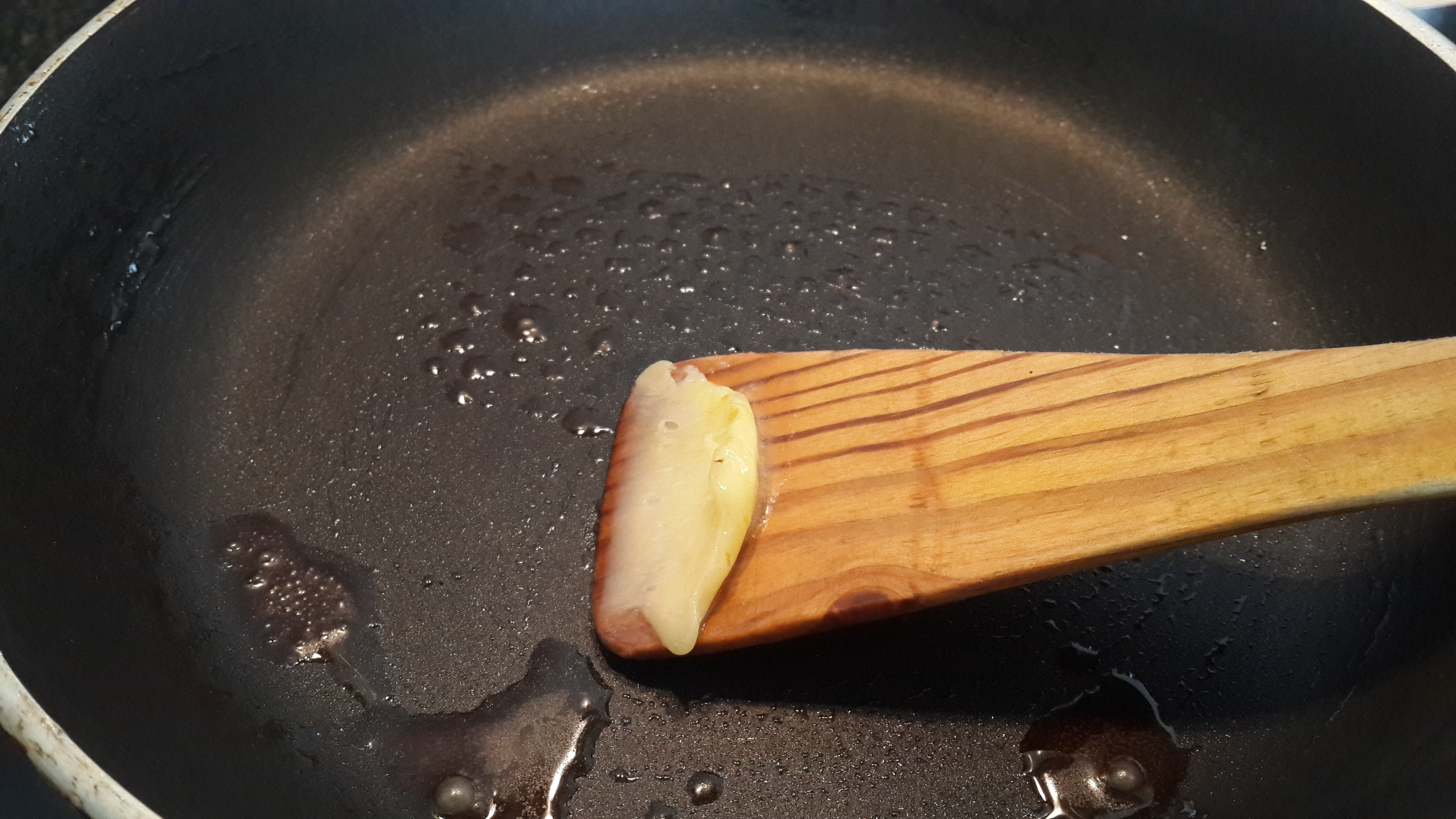 Buttering the pan