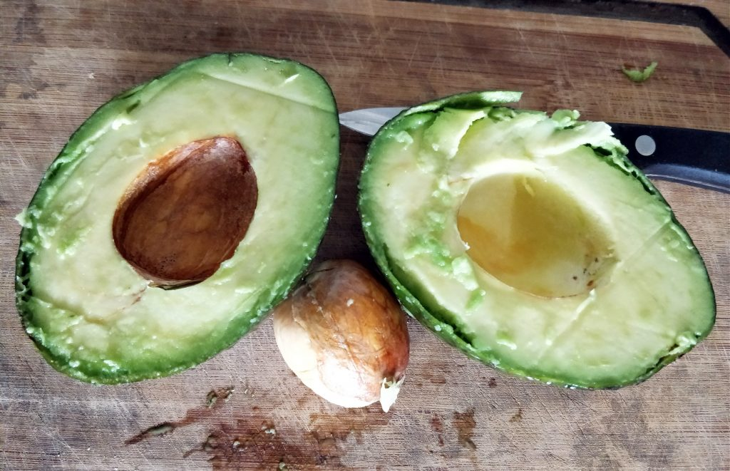 Cut and pitted avocado