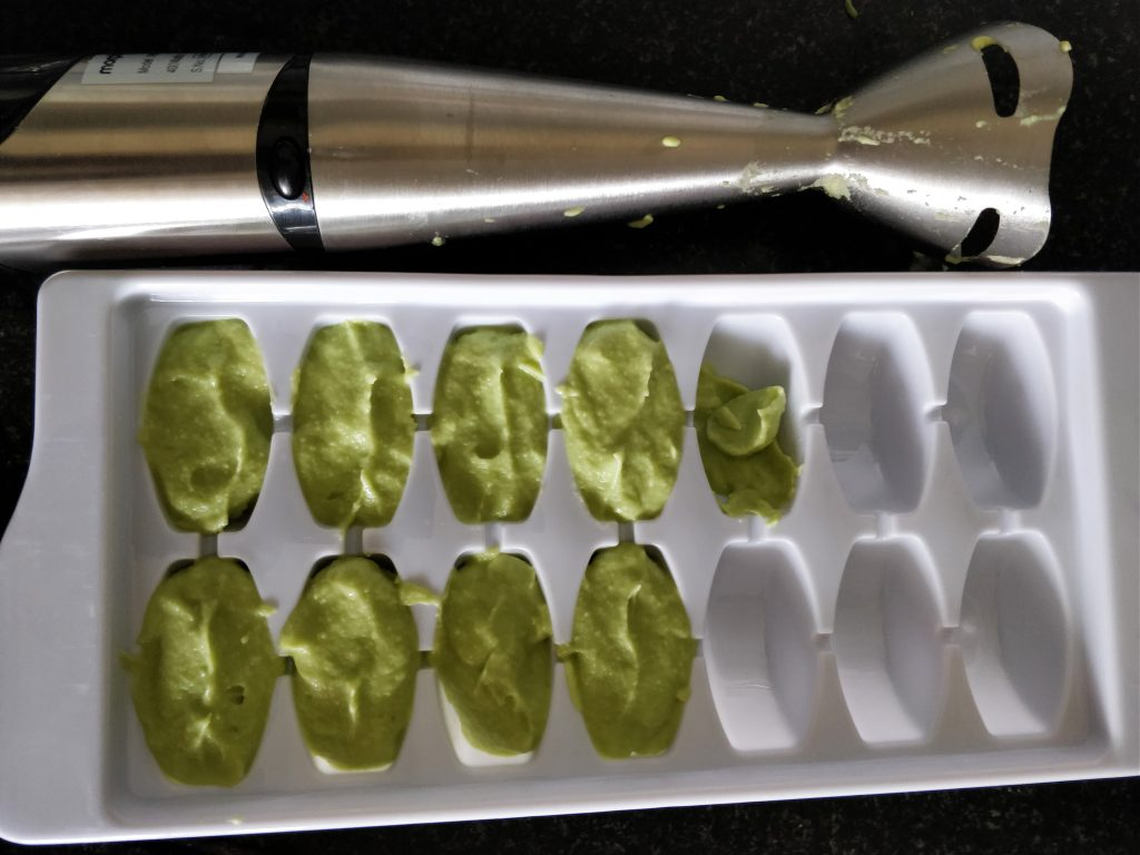 Avocado puree or mash in freeze trays