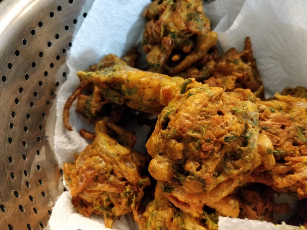 Onion pakodas or bhajjis