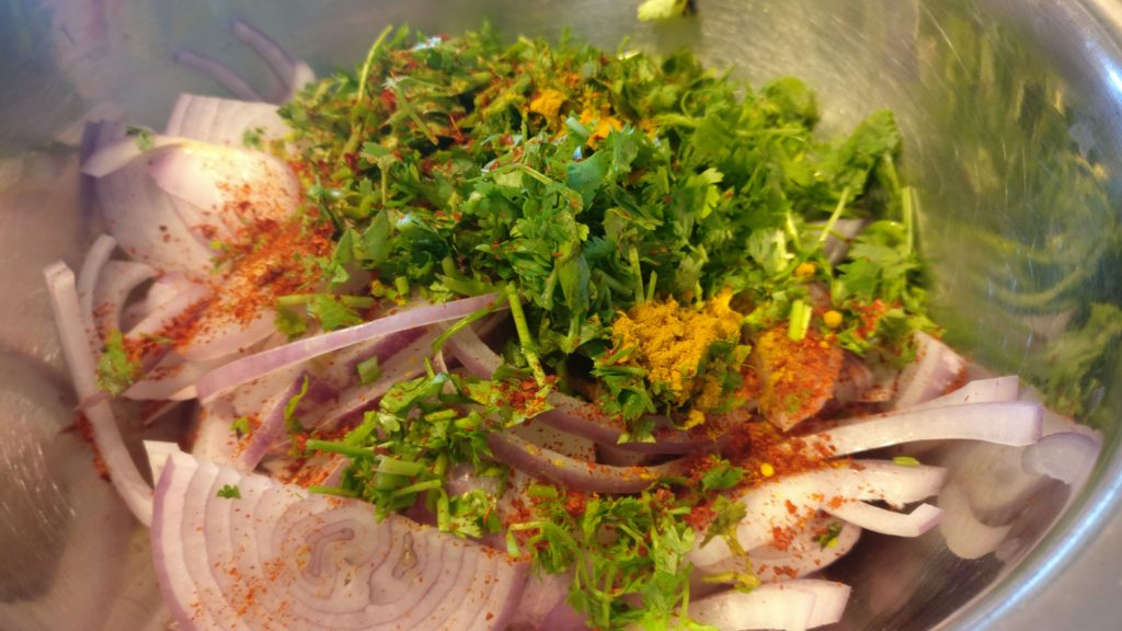 Onion, coriander and spices for pakodas or bhajjis